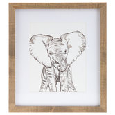 Baby Elephant Framed Wall Decor